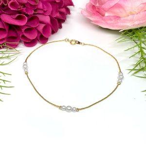 VINTAGE⚜️Golden Faux Pearl Link Bracelet/Anklet